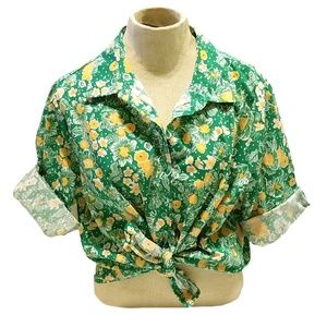 VTG 70s Green Yellow Floral Button Down Blouse 3/4